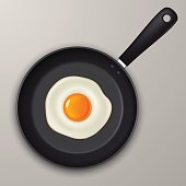 Vector fried egg on a black pan. Realistic icon.
