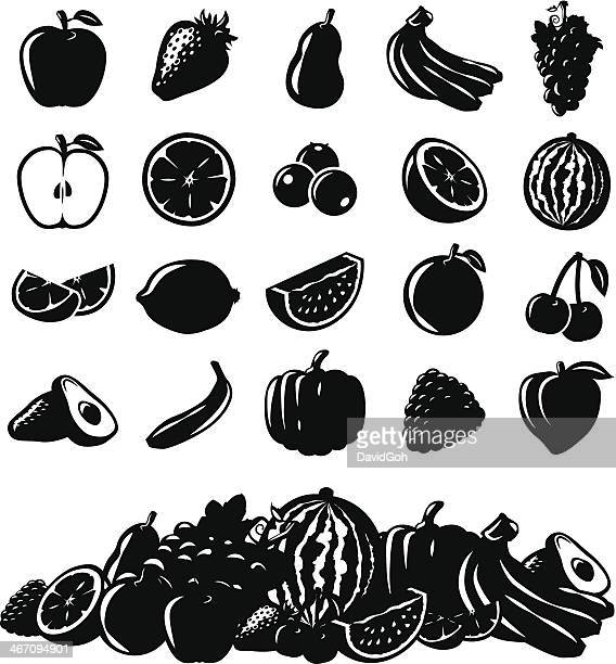 vector fruit icons - blueberry stock illustrations, clip art, cartoons, & icons