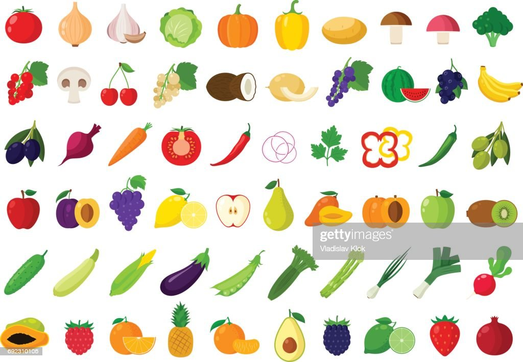 Vector fruits and vegetables icons