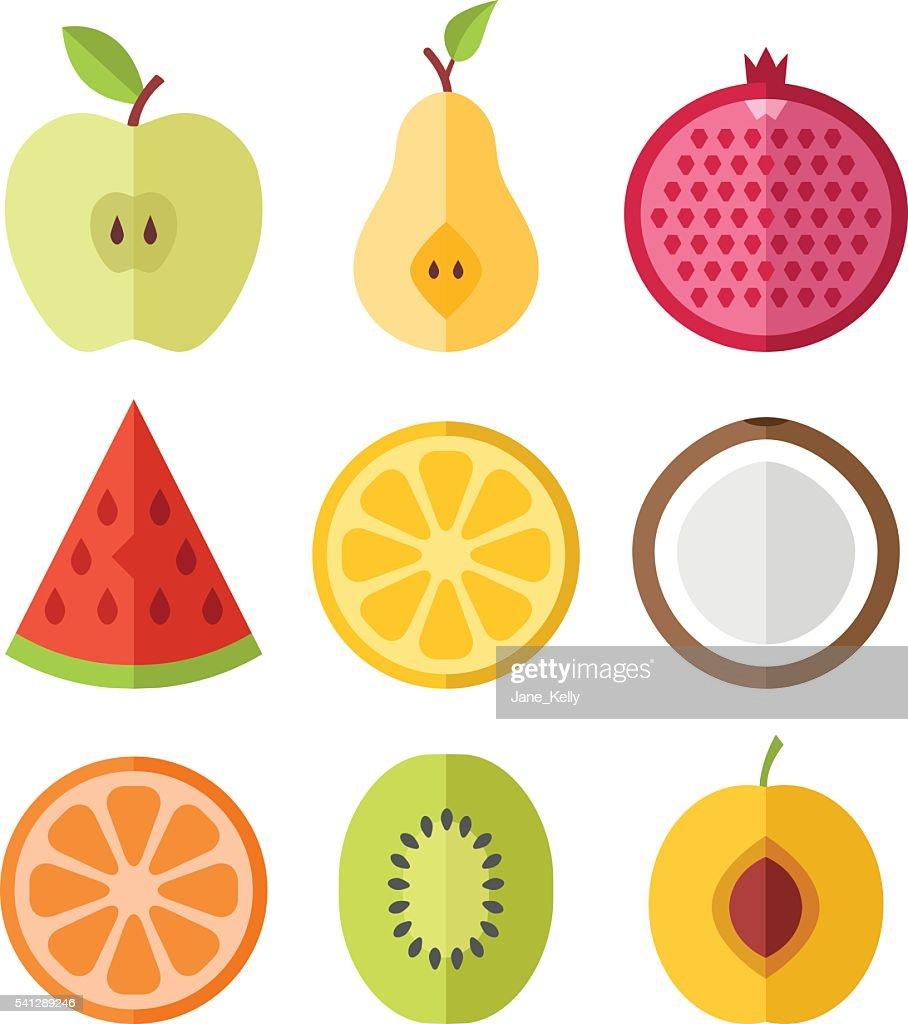 Vector fruits slices set. Flat design vector icons set