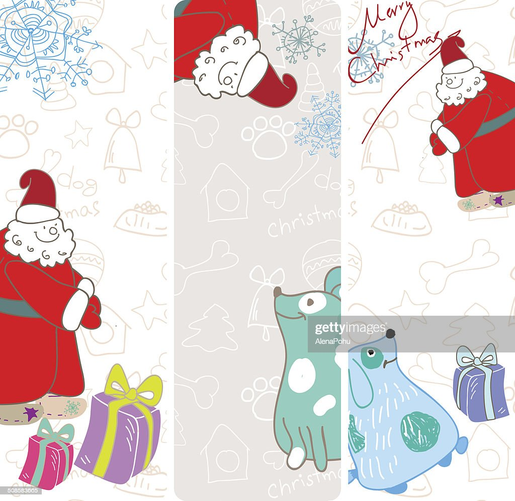 Vector fun christmas banners with blue dogs