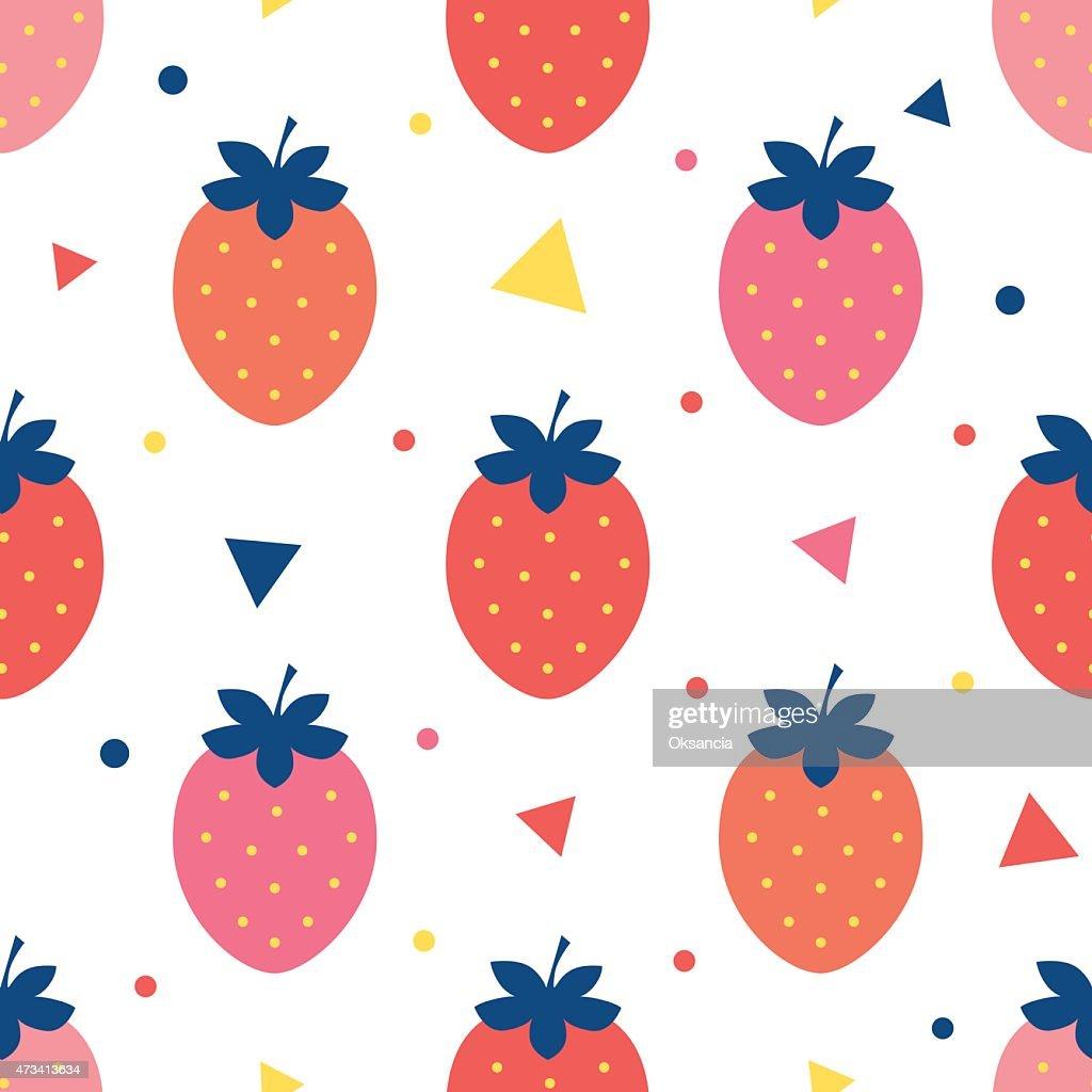 Vector fun strawberries seamless pattern background