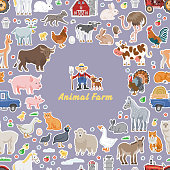 Vector funny animal farm seamless background with happy farmer and character farming pet.