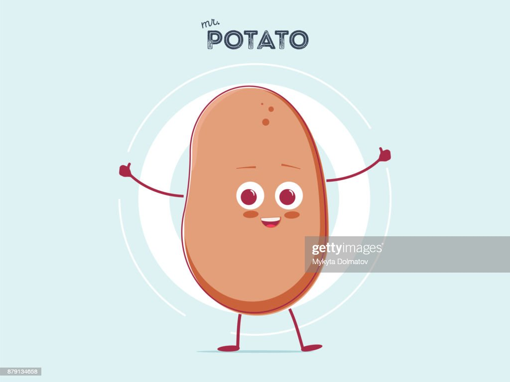 vector funny cartoon cute brown smiling tiny potato isolated on white background. My name is potato