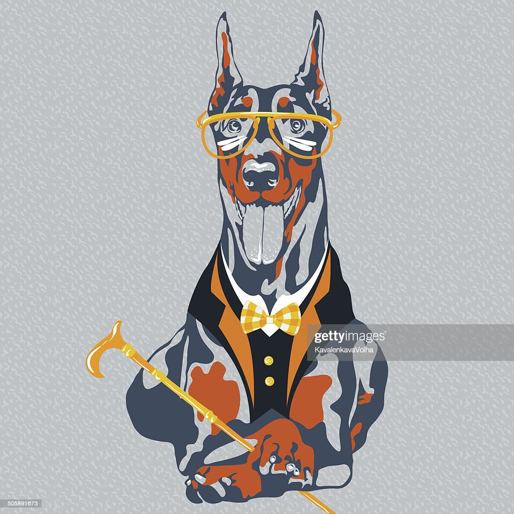 vector funny cartoon hipster dog Doberman Pinscher breed