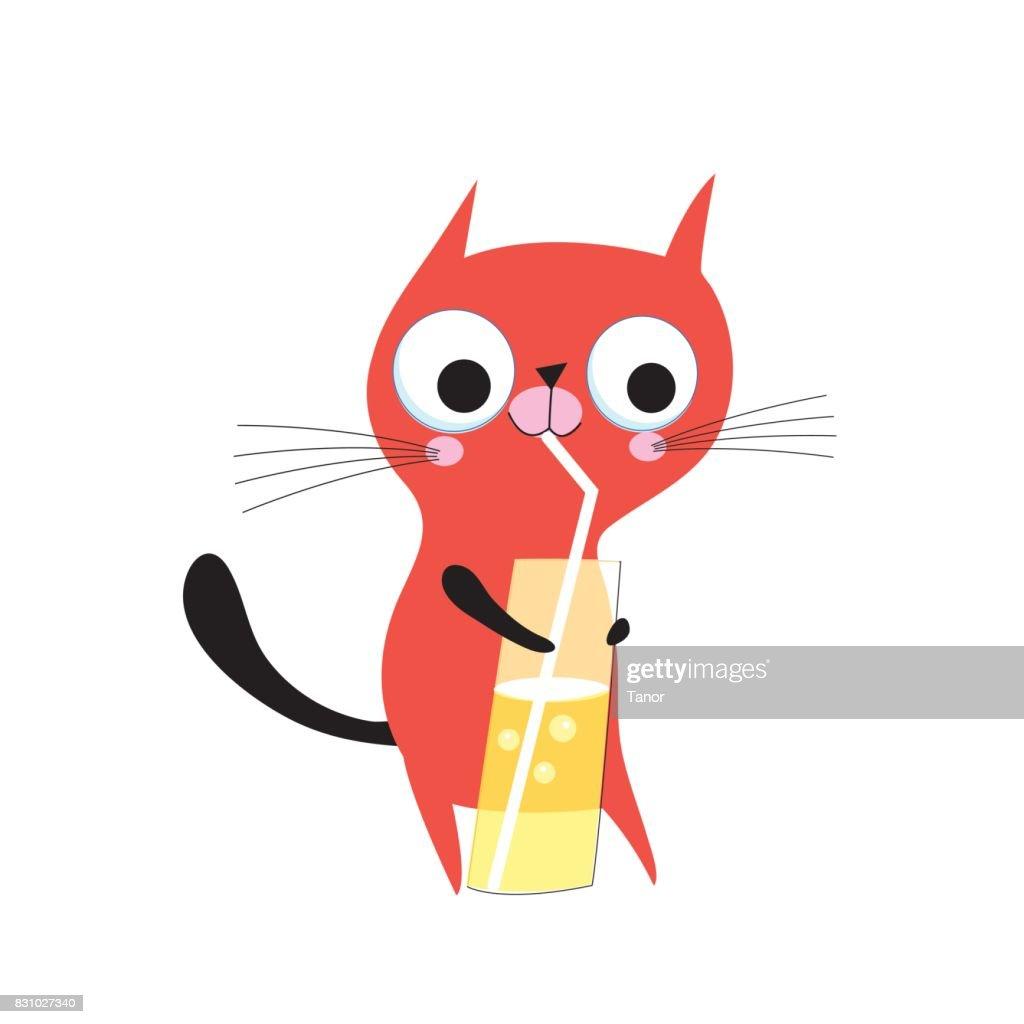 Vector funny kitten drinks juice