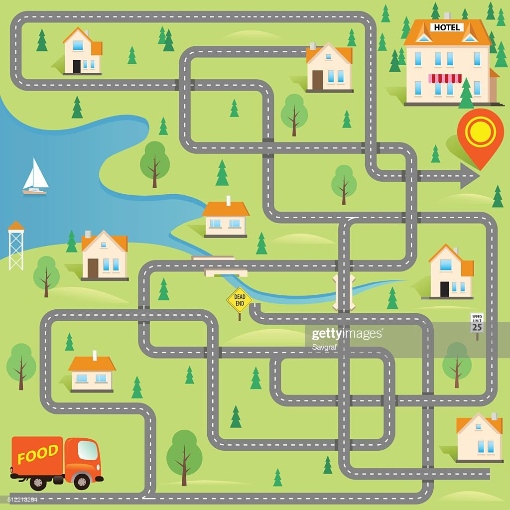 Vector Funny Maze Game: Delivery Driver in this Small City