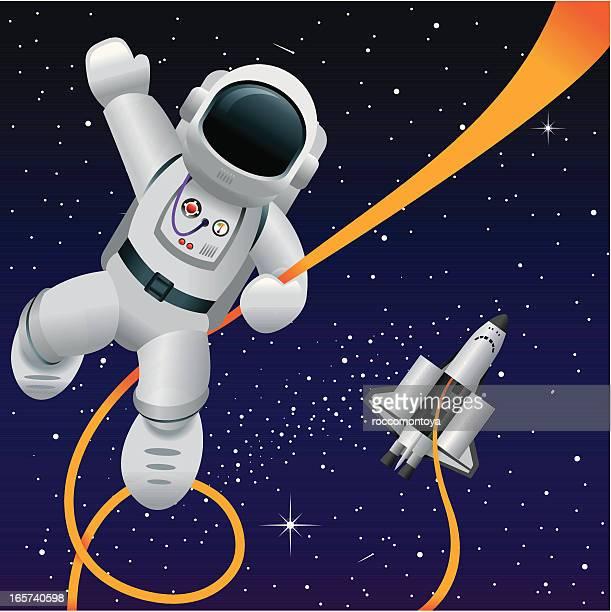 ilustrações de stock, clip art, desenhos animados e ícones de vector engraçado espaço - astronauta