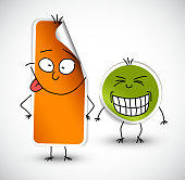 Vector funny stickers green and orange