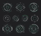 Vector futuristic user interface HUD, sci-fi display circular elements