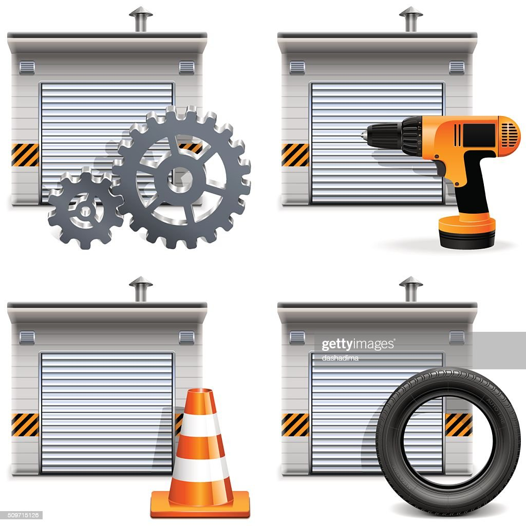 Vector Garage With Tools And Spares Art