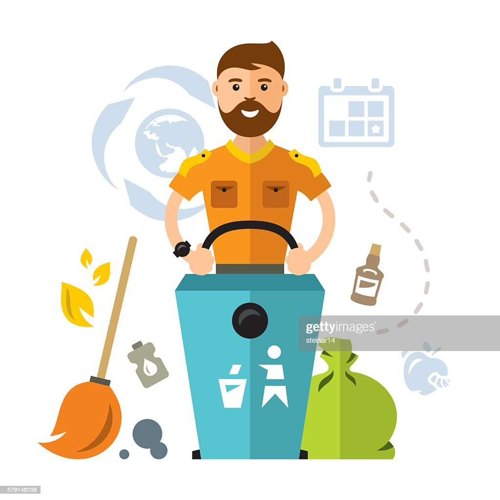 Vector garbage collector. Flat style colorful Cartoon illustration.