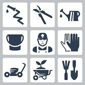 Vector gardening icons set