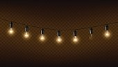 Vector garland of lamps on brown transparent background.