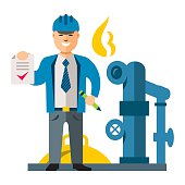 Vector Gas Manager. Flat style colorful Cartoon illustration.