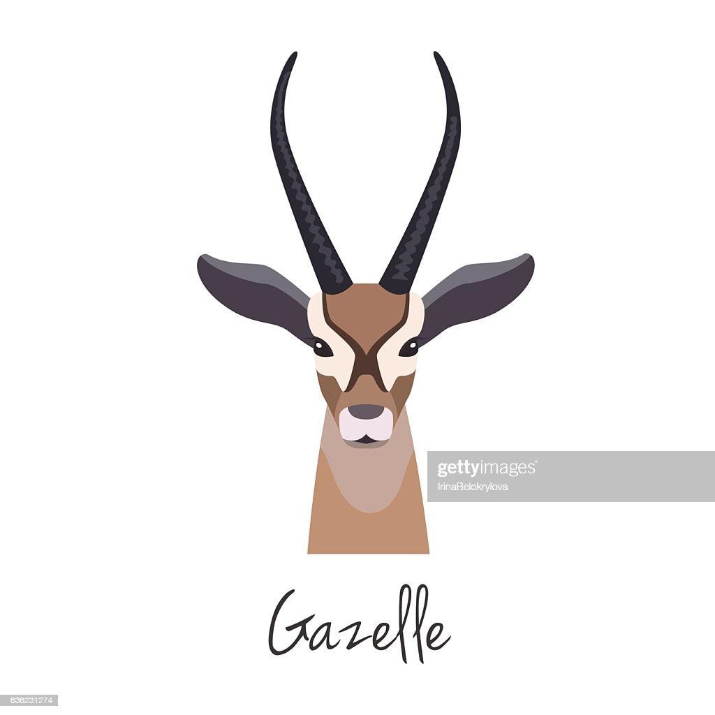 Vector gazelle head isolated. Flat style, cartoon object