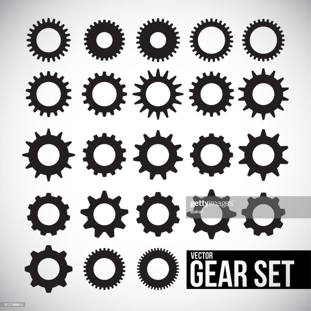 Vector gear icon set : stock illustration