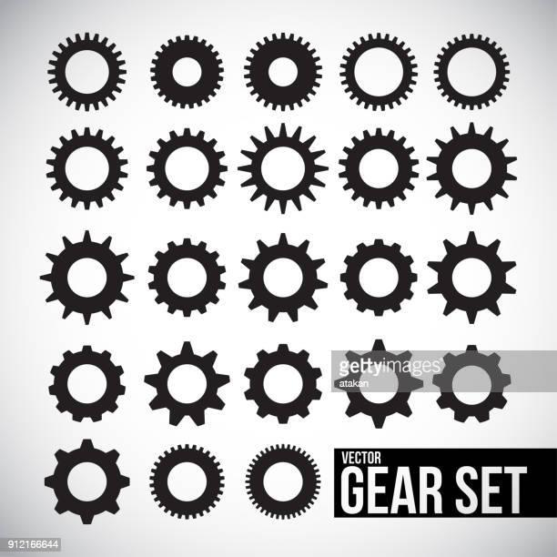 vector gear icon set - cog stock illustrations