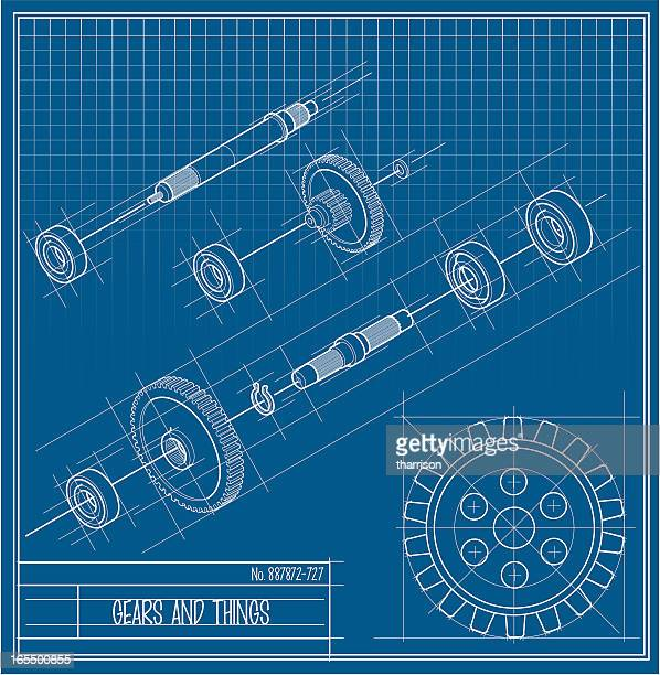 vector gears and things bluprint - machine part stock illustrations