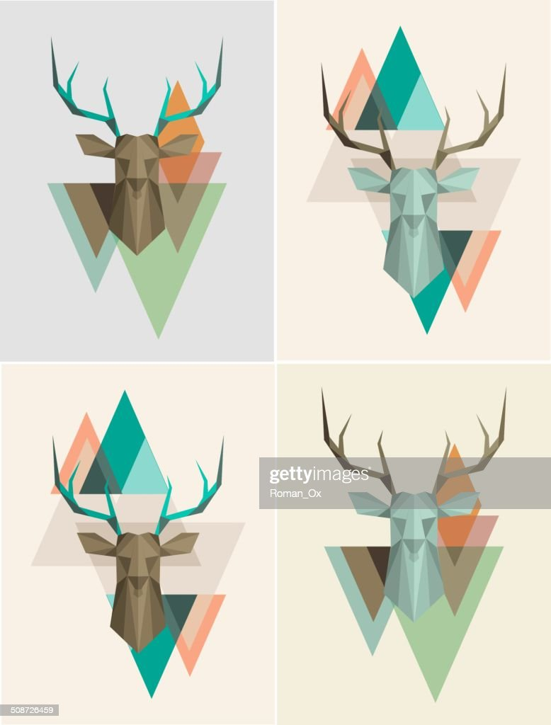 Vector geometric background with deer