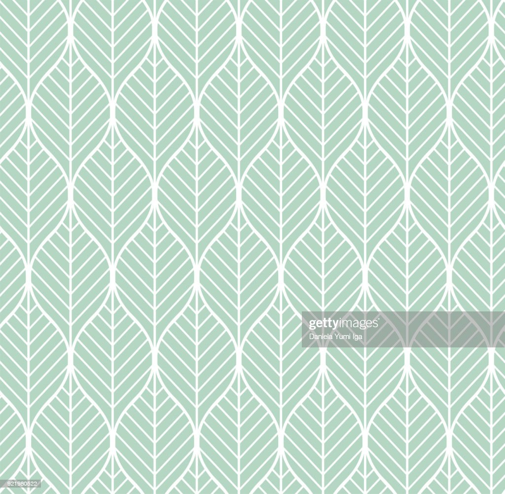 Vector Geometric Leaves Seamless Pattern. Abstract Style Background. Art Deco Geometric texture.