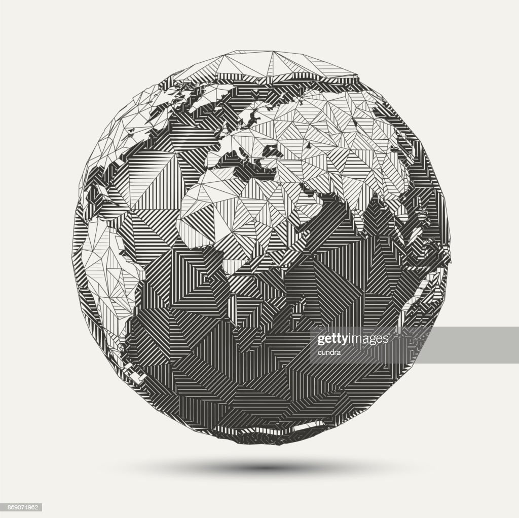 Vector Geometric Line- art Earthglobe