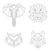 Vector geometric low poly illustrations set.