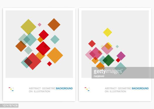 vector geometric pattern backgrounds - square composition stock illustrations