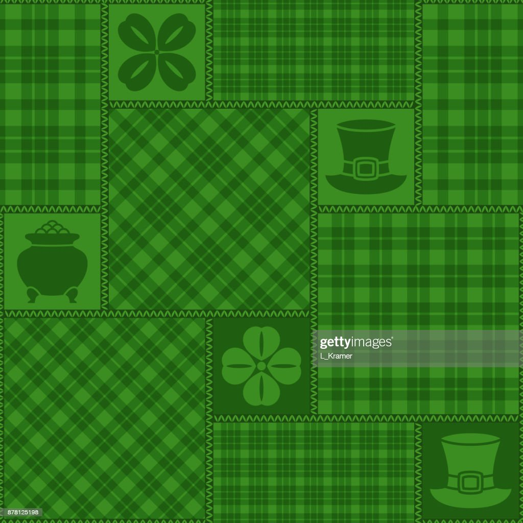 Vector geometrical seamless pattern. Patchwork from green checkered ornaments, pot with golden coins,cylinder hat, stylized shamrock leaf. Saint Patrick Day decoration