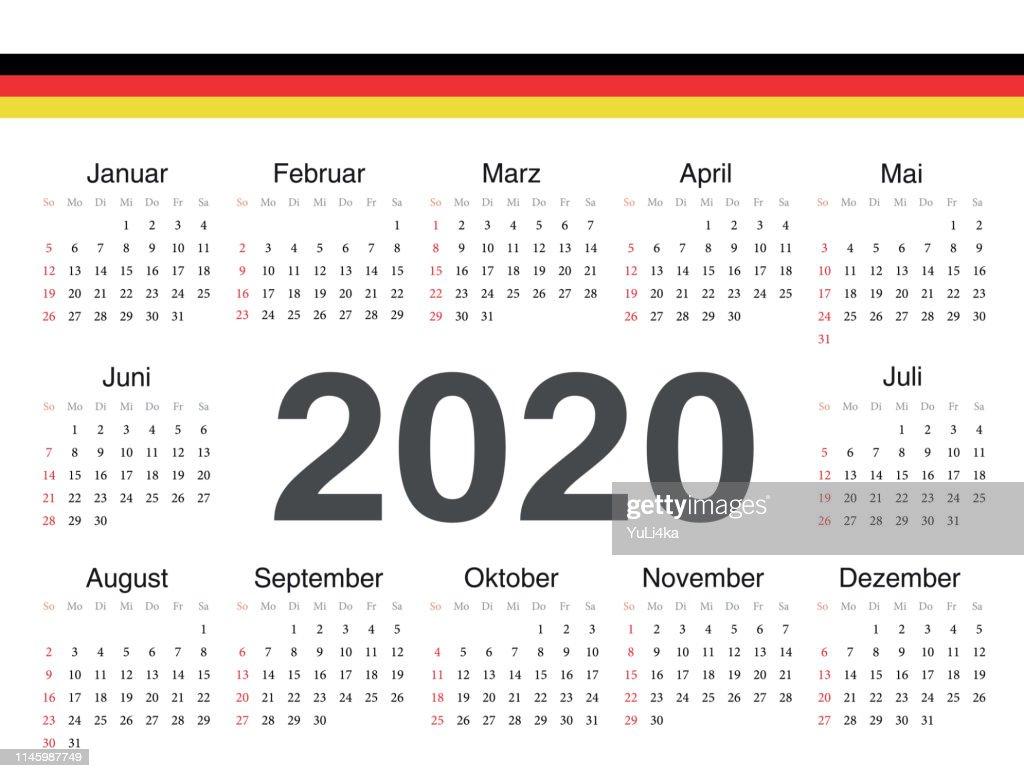 Vector German circle calendar 2020.