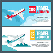 Vector gift travel voucher template. Flying airplane in the sky. Banner, coupon, certificate, flyer, ticket layout.