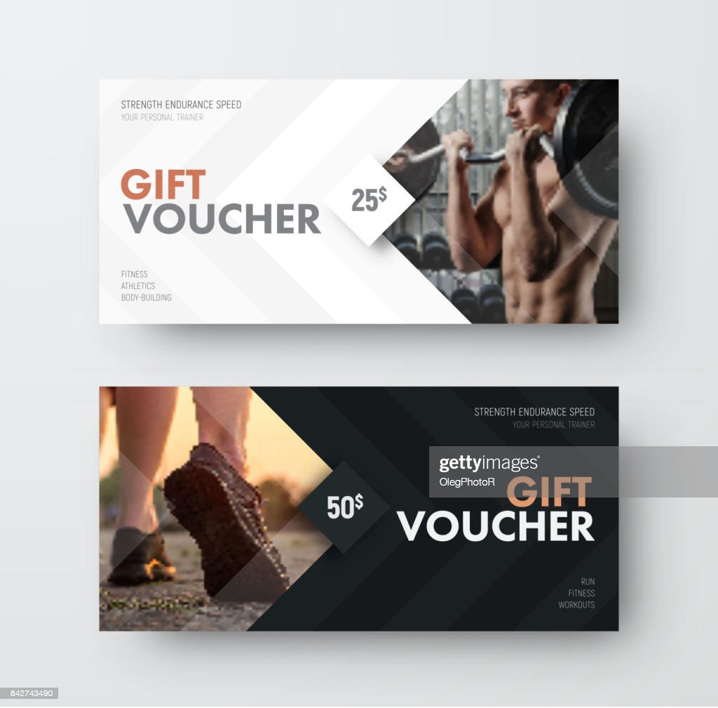 Vector gift voucher template with an arrow, a diamond and a place for the image