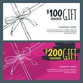 Vector gift vouchers with bow ribbons and watercolor background.