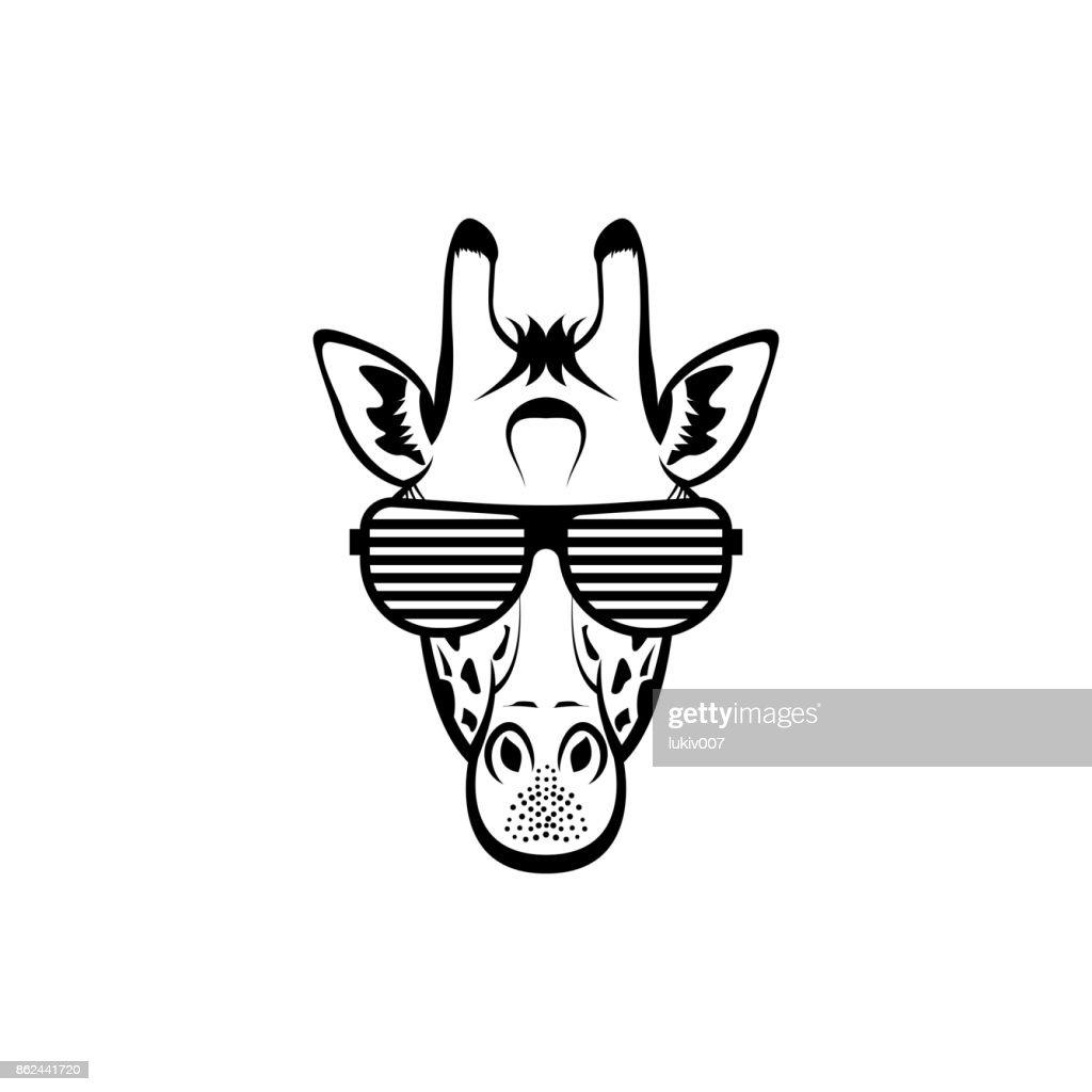 Vektor Giraffe Kopf Gesicht Für Retrohipstersymbole Embleme ...