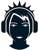 Vector girl in headphones illustration isolated on white