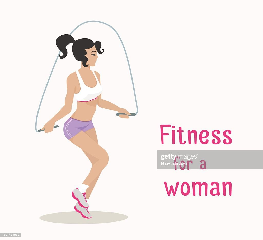 Vector Girl Makes Skipping Rope Exercises Flat Cartoon Style High Res Vector Graphic Getty Images