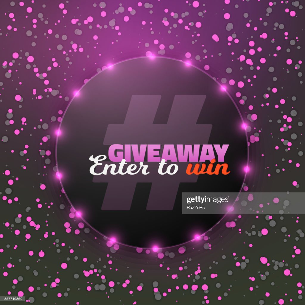 Vector Giveaway Button. Button with Confetti