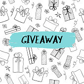 Vector giveaway card with gift boxes pattern