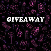 Vector giveaway card with hand drawn gift boxes