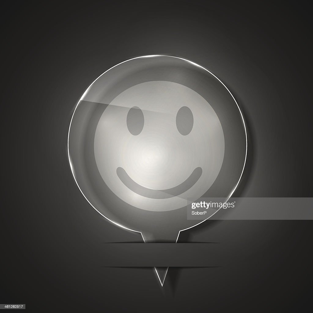 Vector glass smile icon on gray background. Eps 10