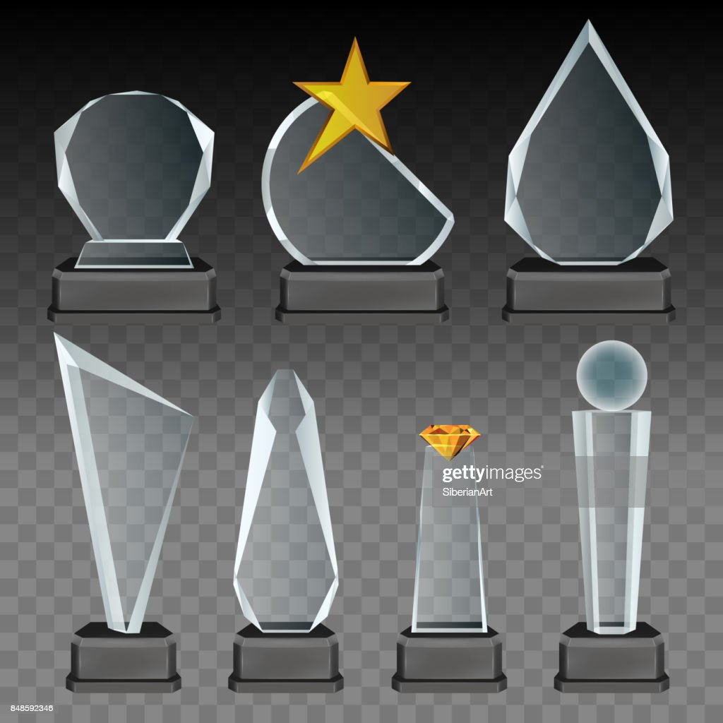 Vector glass transparent trophy and award set