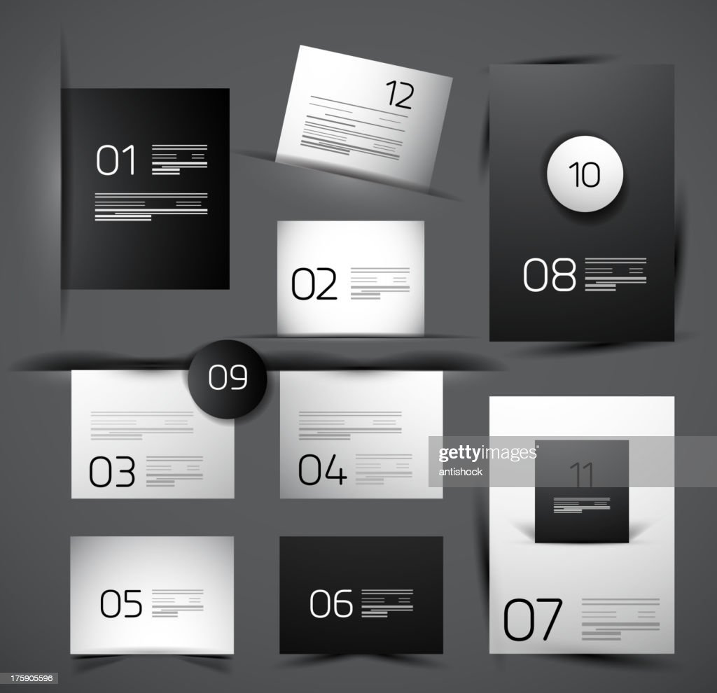 Vector glossy numbered templates