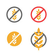 Vector gluten free grain icons set