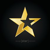 vector Gold Abstract star on black background