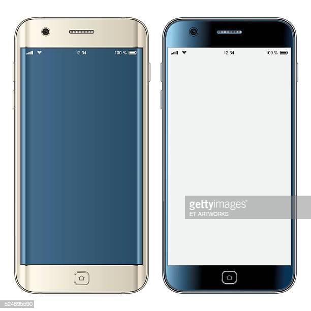 vektor gold & schwarz mobiltelefone - electronic organizer stock-grafiken, -clipart, -cartoons und -symbole