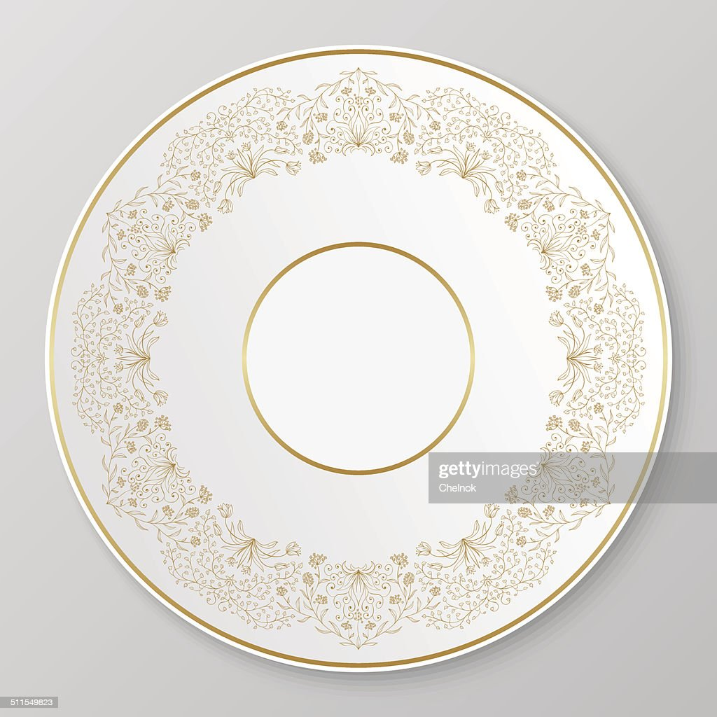 Vector gold decorative plate.  Vector Art  sc 1 st  Getty Images & Vector Gold Decorative Plate Vector Art | Getty Images