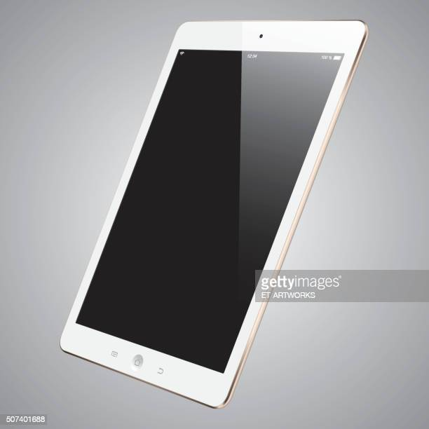 vector gold digital tablet with blank screen - blank screen stock illustrations, clip art, cartoons, & icons