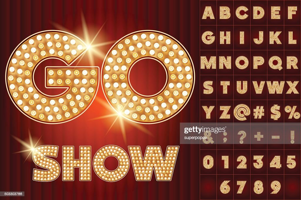 Vector gold lamp alphabet in cabaret show style
