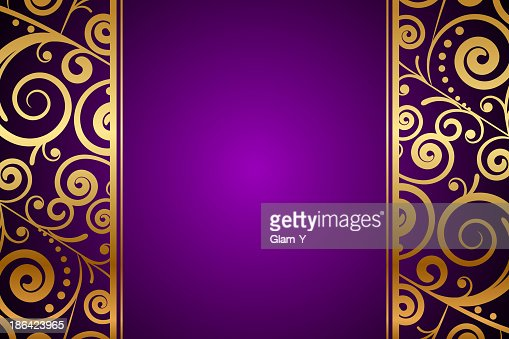 Vector Gold Ornament On Purple Background Vector Art ...