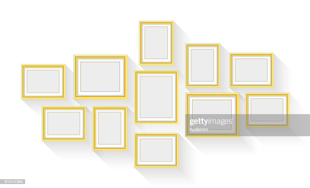 Vector Gold Picture Frame Set Isolated On White Background Vector ...